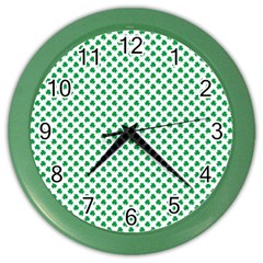 Green Shamrock Clover on White St. Patrick s Day Color Wall Clocks