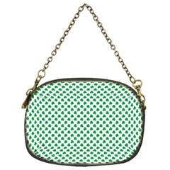 Green Shamrock Clover on White St. Patrick s Day Chain Purses (Two Sides)