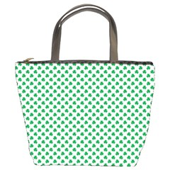 Green Shamrock Clover on White St. Patrick s Day Bucket Bags