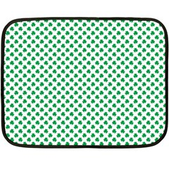 Green Shamrock Clover on White St. Patrick s Day Double Sided Fleece Blanket (Mini)