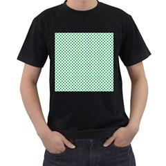 Green Shamrock Clover on White St. Patrick s Day Men s T-Shirt (Black)