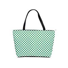 Green Shamrock Clover on White St. Patrick s Day Shoulder Handbags