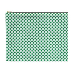 Green Shamrock Clover on White St. Patrick s Day Cosmetic Bag (XL)