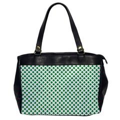 Green Shamrock Clover on White St. Patrick s Day Office Handbags