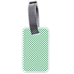 Green Shamrock Clover on White St. Patrick s Day Luggage Tags (Two Sides)