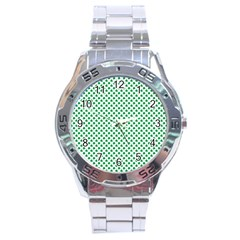 Green Shamrock Clover on White St. Patrick s Day Stainless Steel Analogue Watch