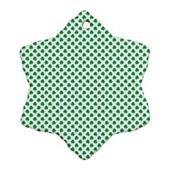Green Shamrock Clover on White St. Patrick s Day Snowflake Ornament (Two Sides)