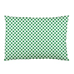 Green Shamrock Clover on White St. Patrick s Day Pillow Case (Two Sides)