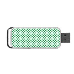 Green Shamrock Clover on White St. Patrick s Day Portable USB Flash (One Side)