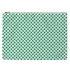 Green Shamrock Clover on White St. Patrick s Day Cosmetic Bag (XXL)