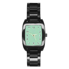 Green Shamrock Clover on White St. Patrick s Day Stainless Steel Barrel Watch