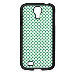 Green Shamrock Clover on White St. Patrick s Day Samsung Galaxy S4 I9500/ I9505 Case (Black)