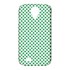 Green Shamrock Clover On White St  Patrick s Day Samsung Galaxy S4 Classic Hardshell Case (pc+silicone)
