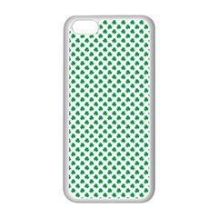 Green Shamrock Clover on White St. Patrick s Day Apple iPhone 5C Seamless Case (White)