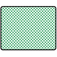 Green Shamrock Clover on White St. Patrick s Day Double Sided Fleece Blanket (Medium)