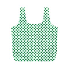 Green Shamrock Clover on White St. Patrick s Day Full Print Recycle Bags (M)
