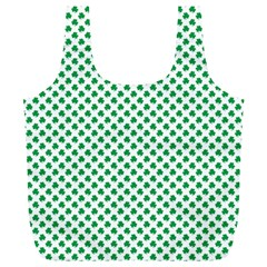 Green Shamrock Clover on White St. Patrick s Day Full Print Recycle Bags (L)