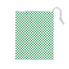 Green Shamrock Clover on White St. Patrick s Day Drawstring Pouches (Large)