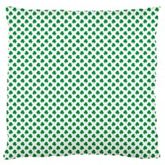Green Shamrock Clover on White St. Patrick s Day Large Flano Cushion Case (Two Sides)