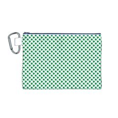 Green Shamrock Clover On White St  Patrick s Day Canvas Cosmetic Bag (m)