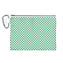 Green Shamrock Clover on White St. Patrick s Day Canvas Cosmetic Bag (L)