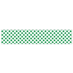 Green Shamrock Clover on White St. Patrick s Day Flano Scarf (Small)