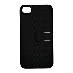 Black and Grey Perforated PInhole Carbon Fiber Apple iPhone 4/4S Hardshell Case with Stand