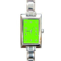 Super Bright Fluorescent Green Neon Rectangle Italian Charm Watch