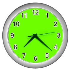 Super Bright Fluorescent Green Neon Wall Clocks (Silver)