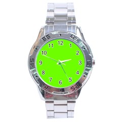 Super Bright Fluorescent Green Neon Stainless Steel Analogue Watch