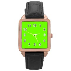 Super Bright Fluorescent Green Neon Rose Gold Leather Watch
