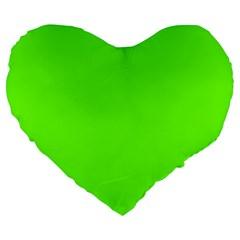 Super Bright Fluorescent Green Neon Large 19  Premium Flano Heart Shape Cushions