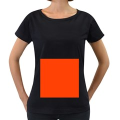 Bright Fluorescent Attack Orange Neon Women s Loose-Fit T-Shirt (Black)