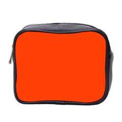 Bright Fluorescent Attack Orange Neon Mini Toiletries Bag 2-Side