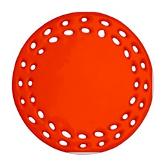 Bright Fluorescent Attack Orange Neon Ornament (Round Filigree)
