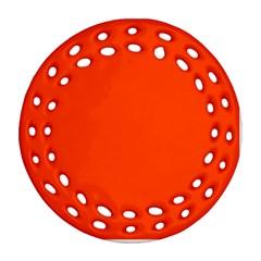 Bright Fluorescent Attack Orange Neon Round Filigree Ornament (Two Sides)