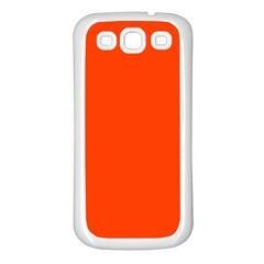 Bright Fluorescent Attack Orange Neon Samsung Galaxy S3 Back Case (White)