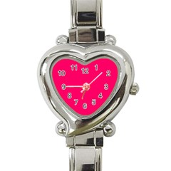 Super Bright Fluorescent Pink Neon Heart Italian Charm Watch