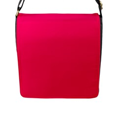 Super Bright Fluorescent Pink Neon Flap Messenger Bag (L)
