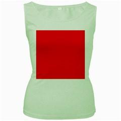 Bright Fluorescent Fire Ball Red Neon Women s Green Tank Top