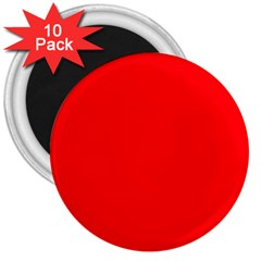 Bright Fluorescent Fire Ball Red Neon 3  Magnets (10 pack)