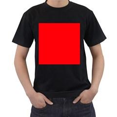 Bright Fluorescent Fire Ball Red Neon Men s T-Shirt (Black)