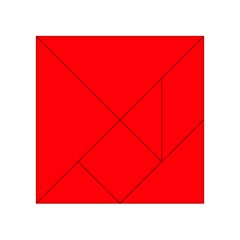 Bright Fluorescent Fire Ball Red Neon Acrylic Tangram Puzzle (4  x 4 )