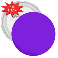 Bright Fluorescent Day glo Purple Neon 3  Buttons (10 pack)