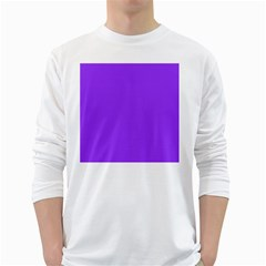 Bright Fluorescent Day glo Purple Neon White Long Sleeve T-Shirts