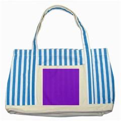 Bright Fluorescent Day glo Purple Neon Striped Blue Tote Bag