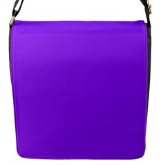 Bright Fluorescent Day glo Purple Neon Flap Messenger Bag (S)