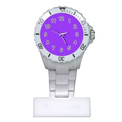 Bright Fluorescent Day glo Purple Neon Plastic Nurses Watch