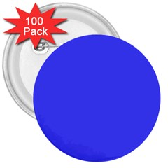 Bright Electric Fluorescent Blue Neon 3  Buttons (100 pack)