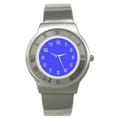 Bright Electric Fluorescent Blue Neon Stainless Steel Watch